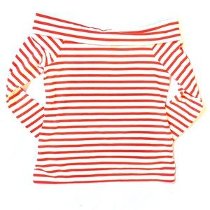 J.Crew Factory Red White Stripe Off The Shoulder